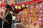 Stall of artificial wishing flower displaying at the flower market, Tsuen Wan, Hong Kong