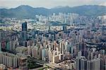 Panoramic sweep of Mongkok cityscape from Sky100, 393 metres above sea level, Hong Kong