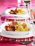 Saffron risotto with scallops and Chorizo