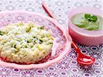 Pasta mit Zucchini und Basilikum, Brokkoli und grünen Bohnen Püree