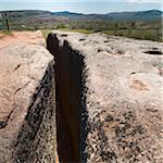 Aqueduc taillées dans la roche, Site archéologique celtibère de Tiermes, Montejo de Tiermes, Soria, Castilla y Leon, Espagne