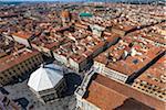Vue aérienne du baptistère de la Basilica di Santa Maria del Fiore, Florence, Toscane, Italie