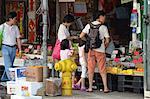 Shopping at the fresh fruits wholesale market at Yau Ma Tei, Kowloon, Hong Kong