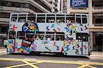 Tramway de la ville sur Johnston Road, Wanchai, Hong Kong