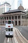 City tram running in Central, Hong Kong