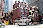 City tram running in Sheung Wan, Hong Kong