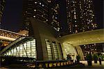 Podium de la gare de Kowloon, nuit, Kowloon, Hong Kong