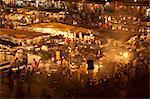 Food market in Djemaa el-Fna, Marrakech, Morocco, North Africa, Africa