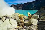 Sulphur basket, Kawah Ijen crater, Java, Indonesia, Southeast Asia, Asia