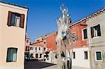 Sculpture en verre par Denise Gemin sur Bressagio Street, île de Murano, Venise, Vénétie, Italie, Europe