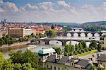 View of the River Vltava and bridges, Prague, Czech Republic, Europe