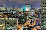 Vue sur la ville élevée vers le commercial et le centre d'affaires, Tel Aviv, Israël, Moyen-Orient