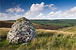 Stone cairn dedicated to John William Fortescue, Historian of the British Army, near Simonsbath, Exmoor National Park, Somerset, England, United Kingdom, Europe