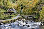 Watersmeet House im Herbst, Exmoor-Nationalpark, Devon, England, Vereinigtes Königreich, Europa