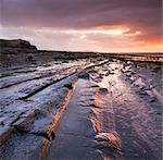 Horizontal rock strata on Kilve Beach on the North Somerset coast, England, United Kingdom, Europe