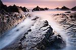 Dramatic coastal scenery at sunset, Hartland Quay, Devon, England, United Kingdom, Europe