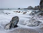 Rocky shore of Rockham Bay near Morte Point, North Devon, England, United Kingdom, Europe