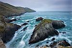 Porte de la morte et falaises rocheuses, North Devon, Angleterre, Royaume-Uni, Europe