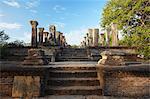 Salle d'audience, les jardins de l'île, Polonnaruwa, patrimoine mondial de l'UNESCO, Province centrale du Nord, Sri Lanka, Asie