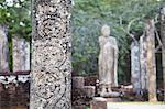 Détails sur la borne, Atadage, Quadrangle, Polonnaruwa, patrimoine mondial de l'UNESCO, Province centrale du Nord, Sri Lanka, Asie