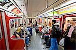 Interior of subway train, Toronto, Ontario, Canada, North America