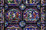 Vitrail médiéval illustrant la Cure de Henry folle de Fordwich, ambulatoires North, Trinity Chapel ambulatoires, cathédrale de Canterbury, patrimoine mondial de l'UNESCO, Canterbury, Kent, Angleterre, Royaume-Uni, Europe