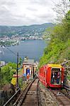 Vue sur la ville de Côme de funiculaire de Côme-Brunate, lac de Côme, Lombardie, lacs italiens, Italie, Europe
