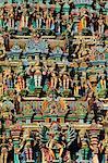 Détail, Sri Meenakshi temple, Madurai, Tamil Nadu, Inde, Asie