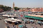 Blick über den Marktplatz, Platz Jemaa El Fna, Marrakesch, Marokko, Nordafrika, Afrika