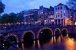 Canal et le pont, Amsterdam, Hollande, Europe