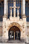 Leeds Cathedral doorway, Leeds, West Yorkshire, Yorkshire, England, United Kingdom, Europe