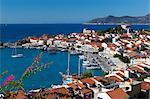 Blick auf den Hafen, Pythagorion, Samos, Dodekanes, Griechenland