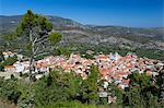 View over mountain village, Pagondas, Samos, Aegean Islands, Greece