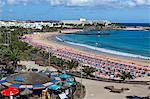Plage de las Cucharas, Costa Teguise, Lanzarote, îles Canaries, Espagne, Atlantique, Europe