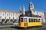 Mosteiro dos Jeronimos, UNESCO World Heritage Site, and tram (electricos), Belem, Lisbon, Portugal, Europe