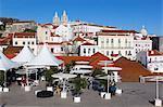 Cafe below Miradouro das Portas do Sol, Alfama, Lisbon, Portugal, Europe