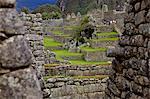 Mur d'Incas, Machu Picchu, Pérou, péruvien, Amérique du Sud, Amérique du Sud, l'Amérique latine, Amérique du Sud Amérique latine. La cité perdue des Incas a été redécouverte par Hiram Bingham en 1911