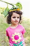 Girl wearing wildflower on her head