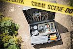 Kiste forensische Ausrüstung am Tatort