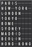 Airport flip chart display. World city destinations.