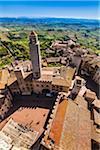 Vue aérienne de San Gimignano, Province de Sienne, Toscane, Italie