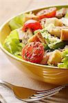 Salade mixte avec le poulet, les tomates et les croûtons