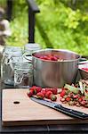 Messer, Rhabarber und Erdbeeren auf Schneidebrett mit Küchenutensilien auf Tisch