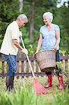 Senior couple raking leaves in garden