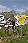 Garçon montagne vélo, Tignes, Alpes, France