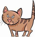Cartoon Illustration of Cute Brown Tabby Cat or Kitten