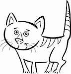 Illustration dessin animé mignon Tabby chat ou chaton pour Coloring Book