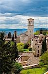 Vue panoramique sur le centre historique ville d'assise, Italie