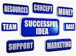 3D bannières bleues avec business concept - idée réussie