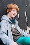 Portrait of Boy wearing Headphones Outdoors, Mannheim, Baden-Wurttemberg, Germany